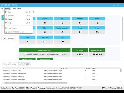 Web Miner 1.2.502.13 screenshot