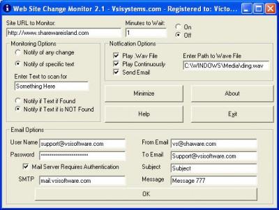 Web Page Change Monitor 2.1 screenshot