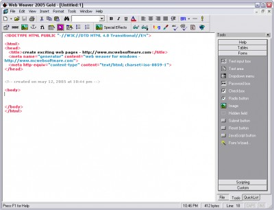 Web Weaver Gold 2005.01 screenshot