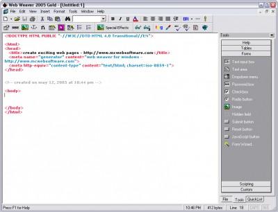 Web Weaver Gold 2005.01 screenshot
