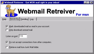 Webmail Retriever for msn 7.3.0 screenshot