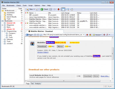WebSite-Watcher 2014 screenshot