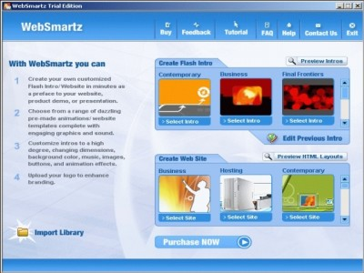 Websmartz Website Builder, Flash Intros 2.1 screenshot