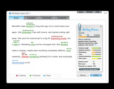 WhiteSmoke Software 2011 screenshot