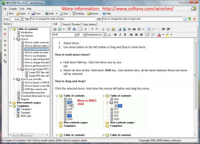 WinCHM - help authoring software 5.26 screenshot