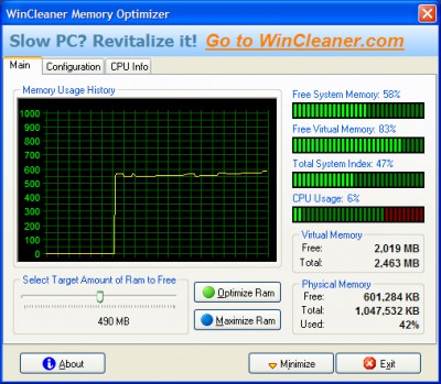 WinCleaner Memory Optimizer 5.2.1 screenshot