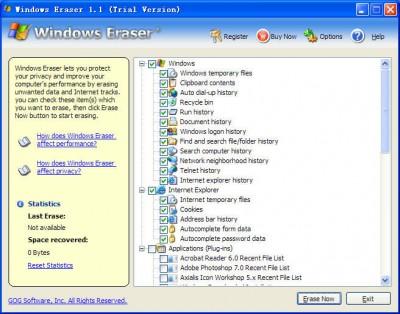 Windows Eraser 3.54 screenshot