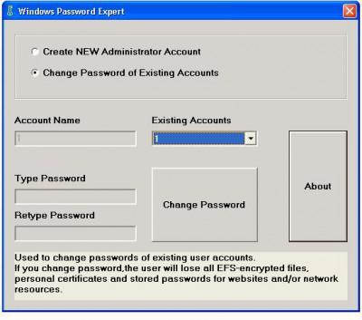 Windows Password Expert 1.1 screenshot