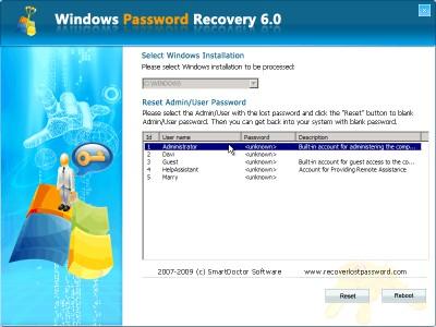 Windows Password Recovery 6.20 screenshot