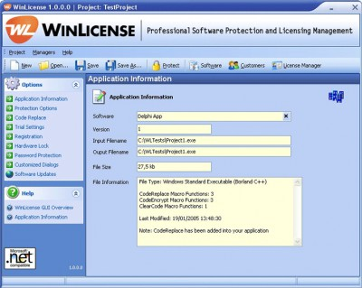 WinLicense 1.960 screenshot