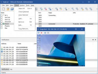WinLock Remote Administrator 9.0 screenshot