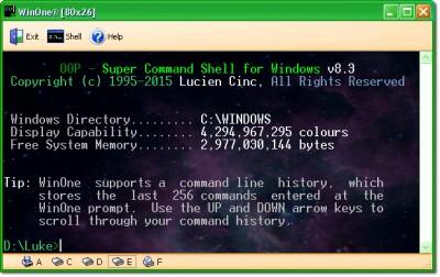 WinOne Free Command Prompt for Windows 8.5 screenshot