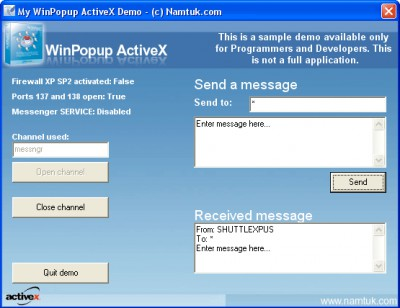WinPopup ActiveX 1.04 screenshot