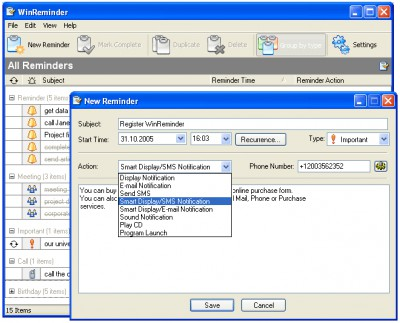WinReminder 2.0 screenshot
