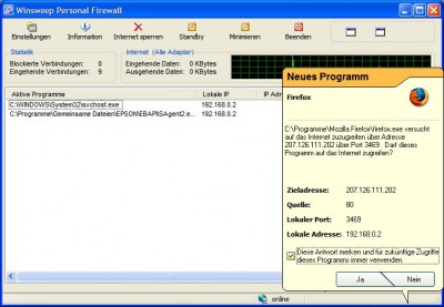 WINSWEEP Personal Firewall 2.58 screenshot