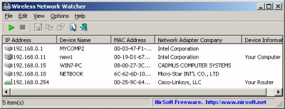 Wireless Network Watcher 2.21 screenshot