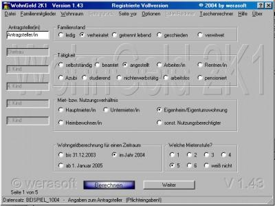 WohnGeld 2K1 1.43a screenshot