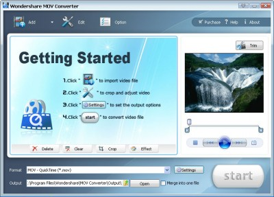 Wondershare Mov Coverter 3.1.22 screenshot