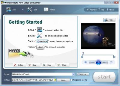 Wondershare MP4 Video Coverter 3.1.25 screenshot