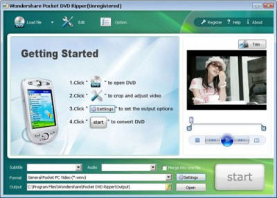 Wondershare Pocket DVD Ripper 3.1.25 screenshot
