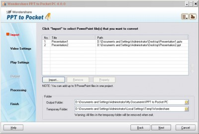 Wondershare PPT to Pocket PC 4.7.0 screenshot