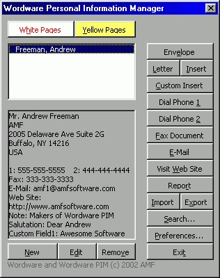 Wordware Personal Information Manager for Word 10.0 screenshot