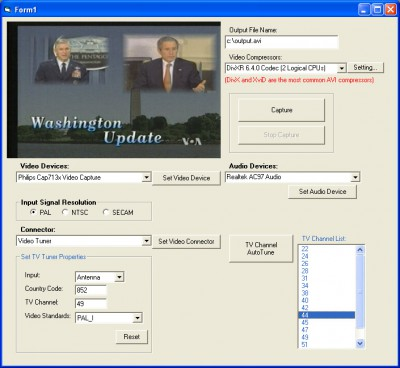 X360 Video Capture ActiveX Control 3.03 screenshot