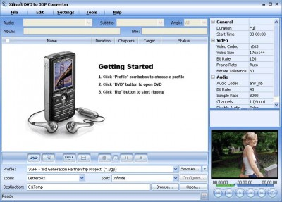 Xilisoft DVD to 3GP Suite 2 4.7.58.102 screenshot