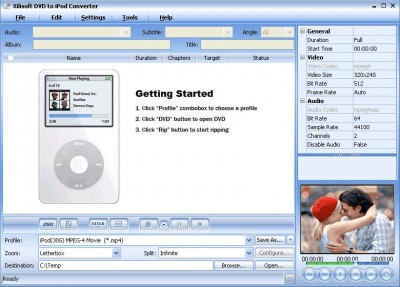 Xilisoft DVD to iPod Converter 2 4.7.78.061 screenshot