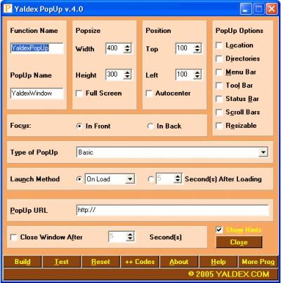 Yaldex PopUp 4.0 4.0 screenshot