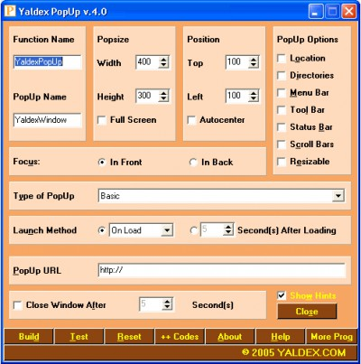 Yaldex PopUp 4.4 4.4 screenshot
