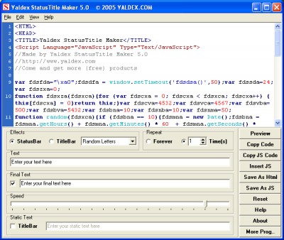Yaldex StatusTitle Maker 5.0 5.0 screenshot