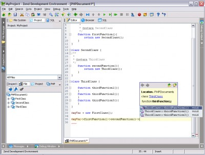 Zend Studio 5.5 screenshot