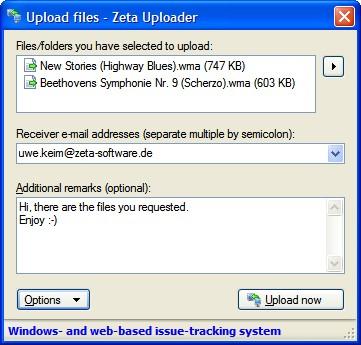 Zeta Uploader (Windows-Client) 2.0 screenshot