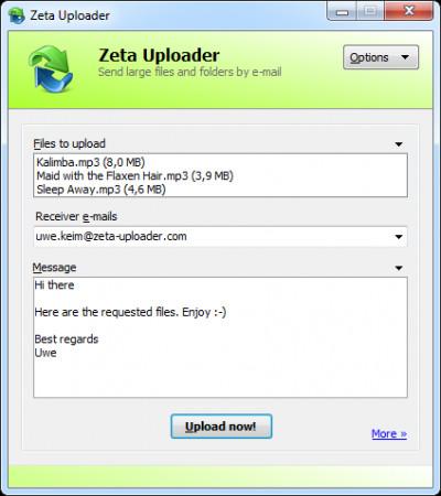 Zeta Uploader - Send large Files online 2.1.0.82 screenshot