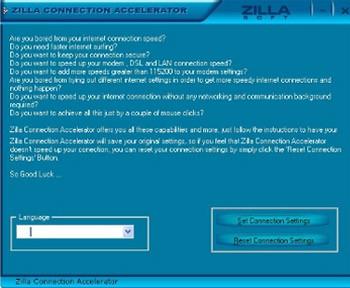 Zilla Free Connection Accelerator 4.3.0.1 screenshot