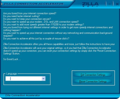 Zilla Internet Connection Accelerator 3.1.0.0 screenshot