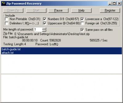 Zip Password Recovery 1.40 screenshot