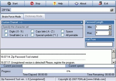 Zip Password Tool 2.4 screenshot
