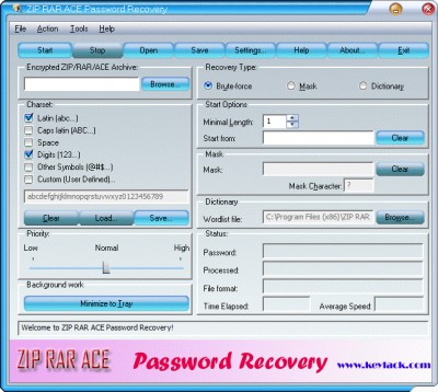 ZIP RAR ACE Password Recovery 2.70 screenshot