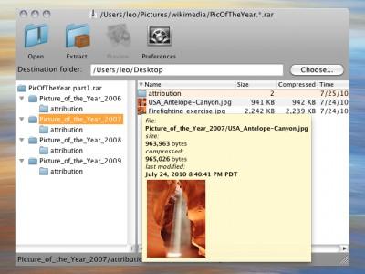 Zipeg for Macintosh 2.9.4.1316 screenshot