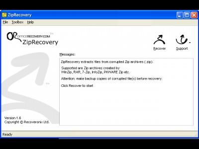 ZipRecovery 1.6.1007 screenshot