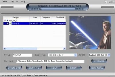 Zune Convert DVD to Zune 2014.416 screenshot