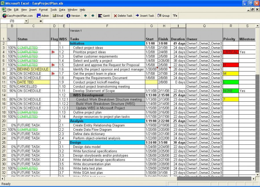 Easyprojectplan Excel Project Plan Gantt 10 5 Review And