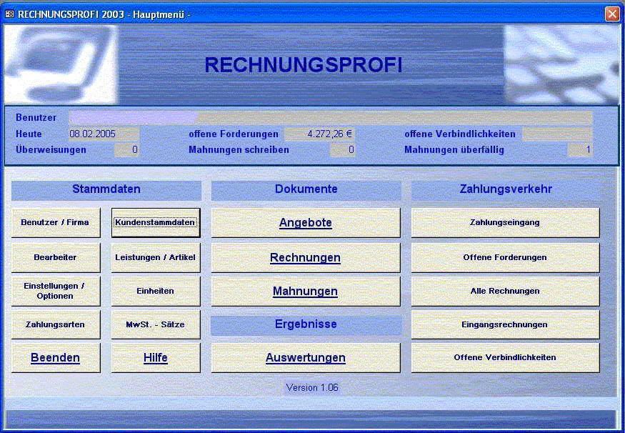 rechnungsprofi 2003 kostenlose download programm zum. Black Bedroom Furniture Sets. Home Design Ideas