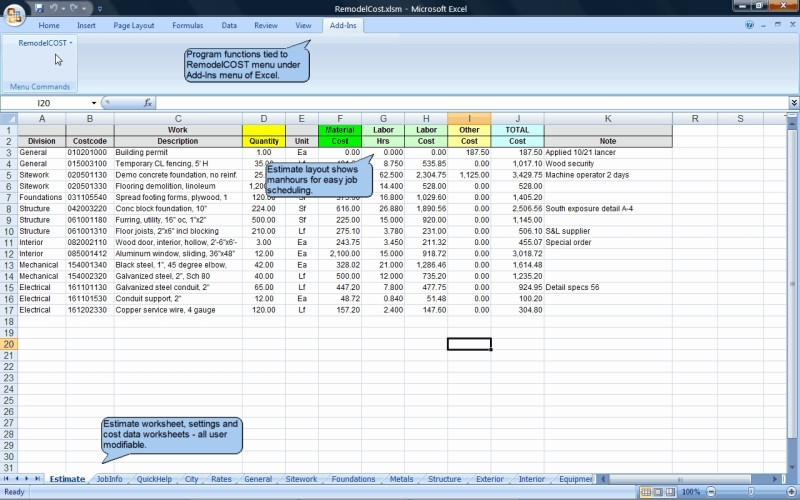 Remodelcost Estimator For Excel 14 1 Review And Download